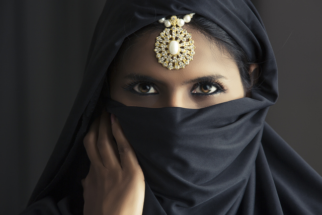 Indian Muslim woman in head scarf