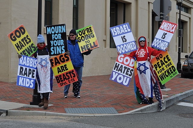 Members of the Westboro Baptist Church demonstrating outside a Virginia museum in 2010.