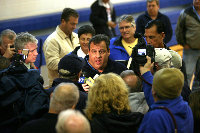 Gov. Chris Christie meets with county officials in Cape May, NJ after Hurricane Sandy