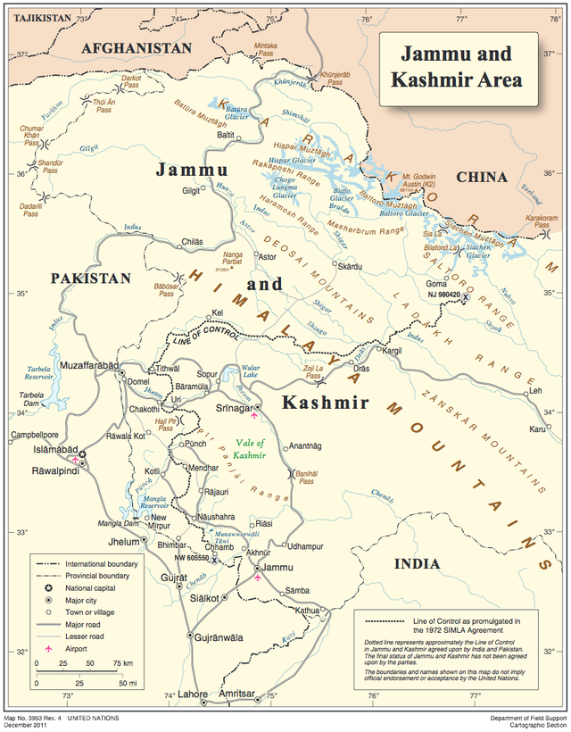 Map of Jammu and Kashmir area