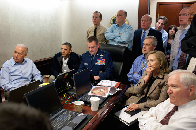 President Obama and his national security team in the Situation Room immediately prior to the killing of Osama bin Laden