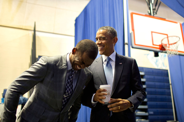 President Obama jokes with a participant in an event to promote My Brother's Keeper