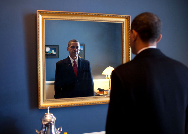 Obama looks in the mirror