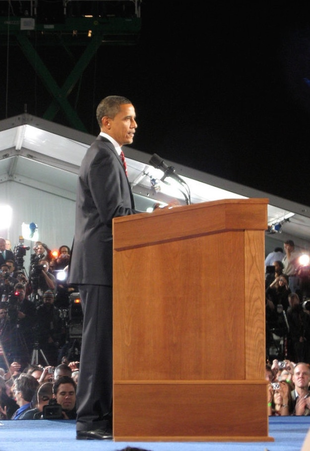 President Obama gives his victory speech on November 4th, 2008