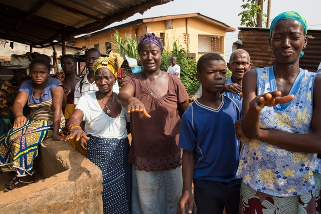 Ebola mourners in west africa