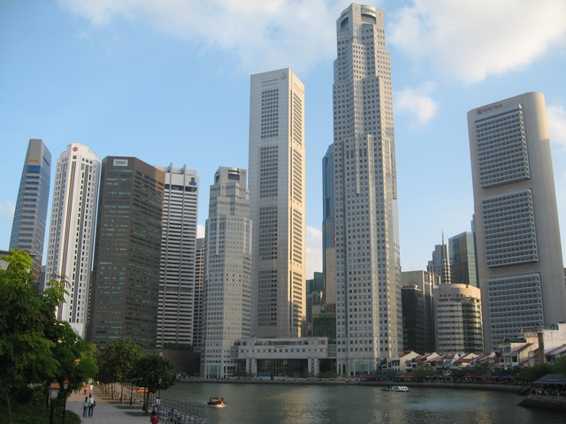 A view of the Singapore skyline; Singapore is considered to be an exception to modernization theory due to its resilient authoritarianism.