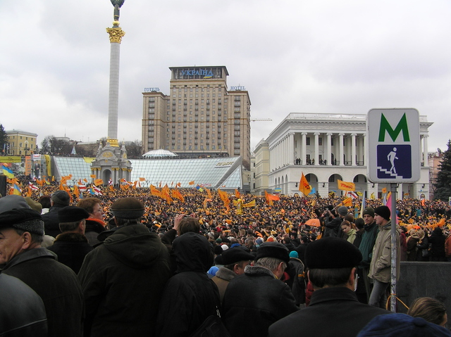 Thousands of demonstrators protest in Kiev's Independence Square during the Orange Revolution November 2004.