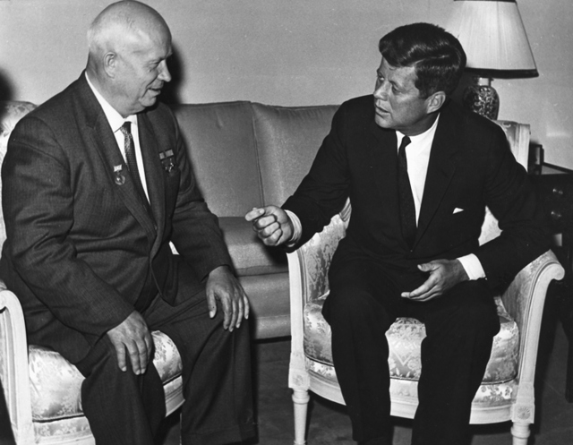 John F Kennedy meeting with Soviet Premier Nikita Khrushchev in Vienna in 1961